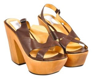 Lanvin Dark Leather Wood Slingback Sandals Brown Platforms