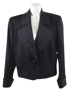 Saint Laurent Yves Saint Laurent Black Cashmere Single Button Satin Trim Jacket Blazer