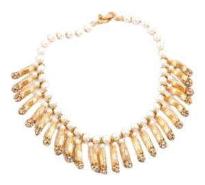 Vintage Faux Pearl Gold Tone Rhinestone Dangling Choker Statement Necklace