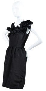 Oscar de la Renta Silk Asymmetrical Tea Ruffle Dress