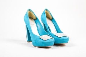 Dior Christian Teal Suede Blue Pumps