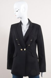 Other Algo Black Silver Tone Stretch Wool Ls Double Breasted Blazer