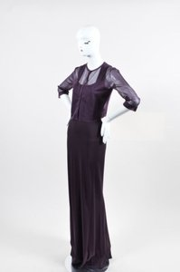Purple Maxi Dress by ALAÏA Alaia Dark Square Neck Gown With Sheer Shrug