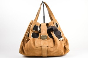 Jimmy Choo Tan Gold Suede Canvas Woven Strap Tote in Brown
