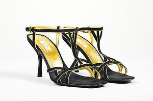Prada Metallic Suede Black Sandals