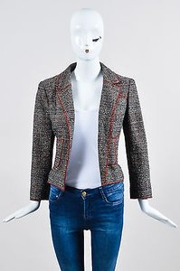 Chanel Black White And Red Tweed Structured Serged Trim Ls Multi-Color Jacket