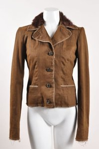 Philosophy di Alberta Ferretti Brown Button Front Fur Collar Jacket