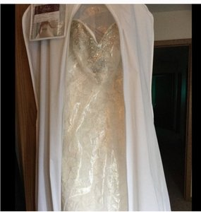 Mori Lee Ivory/Silver Lace Beaded Embroidery On Venice Vintage Wedding Dress Size 4 (S)