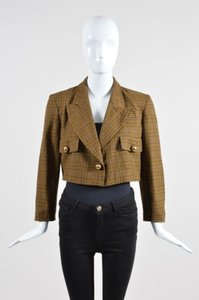 Moschino Moschino Cheap And Chic Brown Plaid Cropped Blazer Jacket