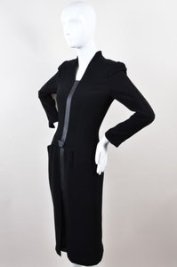 Black Maxi Dress by Thierry Mugler Woven Panel Floor Length Ls Maxi