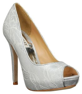 Badgley Mischka Peep Toe Bridal Silver with Lace Pumps