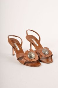 Oscar de la Renta Brown Fringe Leather Medallion Slingback Sandals