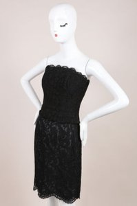 Chanel Black Lace Strapless Top Pencil Set Skirt