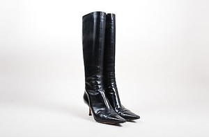 Jimmy Choo Pointed High Black Leather Boots
