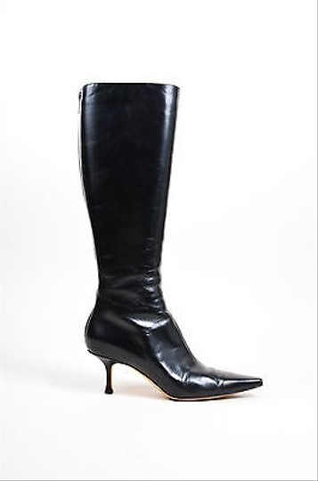 Jimmy Choo Pointed High Black Leather Boots Image 1