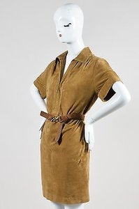 Gucci short dress Brown Tan Leather Suede Short on Tradesy