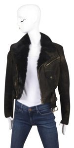 Ralph Lauren Label Blackgold Print Shearling Leather Crop Jacket