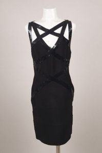 Hervé Leger Black Sequin Sleeveless Bandage Dress