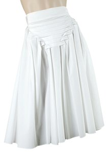 Jean-Paul Gaultier Pleated Flowy Cotton Skirt White
