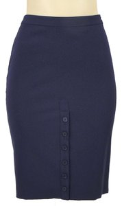 Jean-Paul Gaultier Wool Pencil Skirt Blue