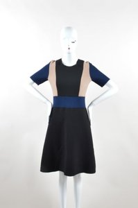Derek Lam Navy Tan Stretch Wool Color Ss Sheath Dress