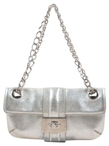 Lanvin Metallic Leather Chain Strap Turnlock Clasp Shoulder Bag