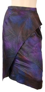 Luca Luca Metallic Gradient Silk Drape Draped Nylon Skirt Purple, Blue
