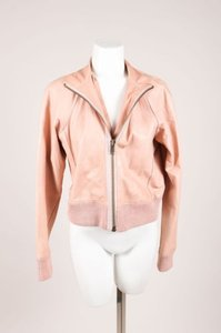 Generra Leather Long Sleeve Bomber Jacket