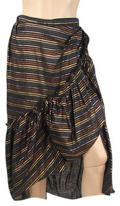 Marc Jacobs Sparkle Metallic Drape Draped Ruffle Striped Pinstripe Maxi Skirt Black, Gold, Green, Yellow