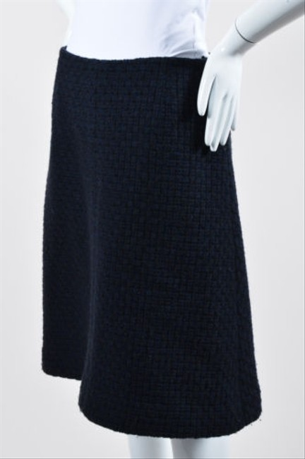 6737829606 hot sale Chanel 00a Navy And Black Wool A Line Knee Length Skirt ...