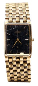 Citizen Vintage Citizen Gold Tone Black Stainless Steel Rectangle