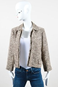 Chloé Chloe Cream Brown Woven Knit Patterned Long Sleeve Blazer Jacket