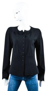 Chanel 02a Wool Long Sleeve Tailored Black Jacket