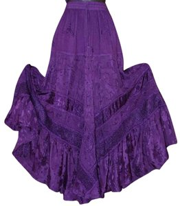 Other Embroidered Embellished Bohemian Skirt Royal Purple