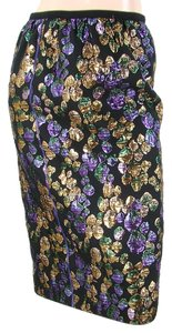 Marc Jacobs Gold Jacquard Silk Metallic Pencil Skirt
