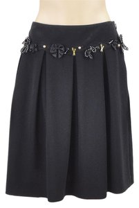 Moschino Charm Pleated Wool Skirt Black