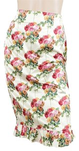Moschino Silk Satin Pencil Floral Skirt Pink, Green, Red, Ivory