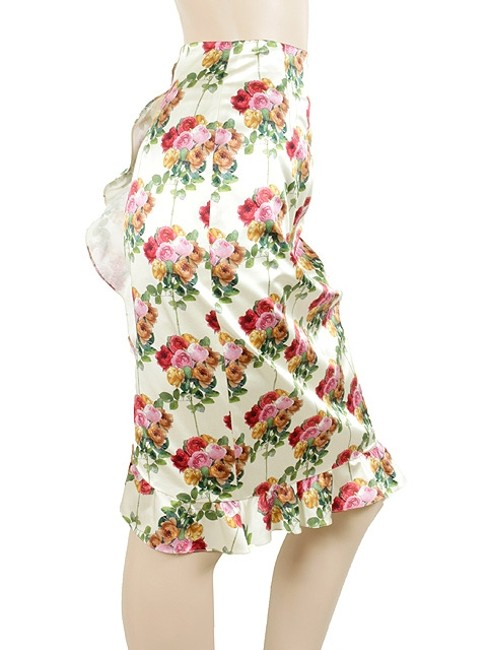 Moschino Cotton Silk Satin Pencil Floral Skirt Pink, Green, Red, Ivory
