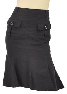 Moschino Trumpet Linen Pencil Skirt Black