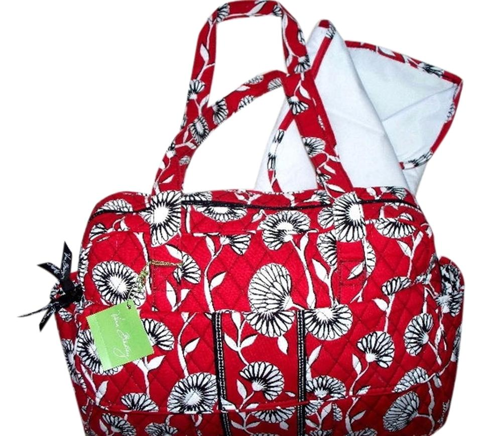 vera bradley deco daisy baby diaper bag w changing pad nwt deco daisy red black tradesy. Black Bedroom Furniture Sets. Home Design Ideas