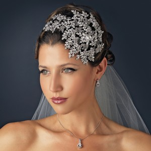 Elegance By Carbonneau Gatsby Style Bold Side Accent Wedding Headpiece