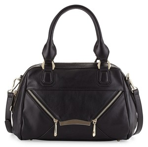 RIANI Leather Gold Hardware Chic Satchel in Black