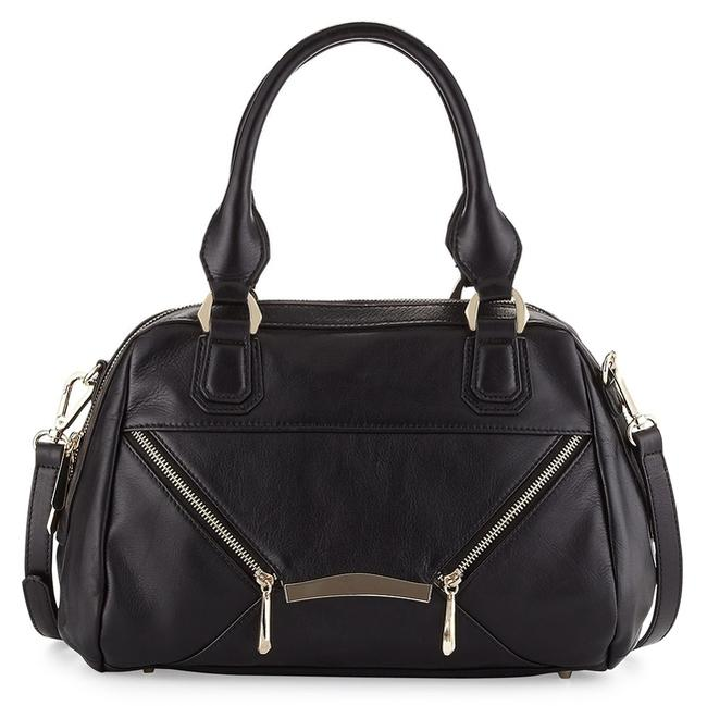 Item - Day To Evening Gold Zips Black Pebbled Leather Satchel