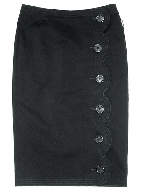Moschino Pencil Cotton Embroidered Skirt Black