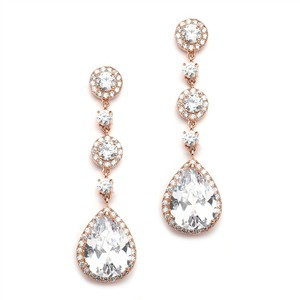 Mariell Rose Gold Cz Drop Wedding Or Prom Earrings