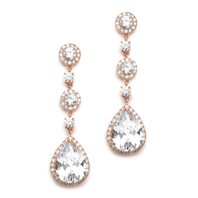 Item - Rose Gold Pear Cz Drop Or Prom Earrings