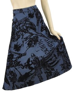 Moschino Cotton Flowy Print Embroidered Skirt Blue, Black