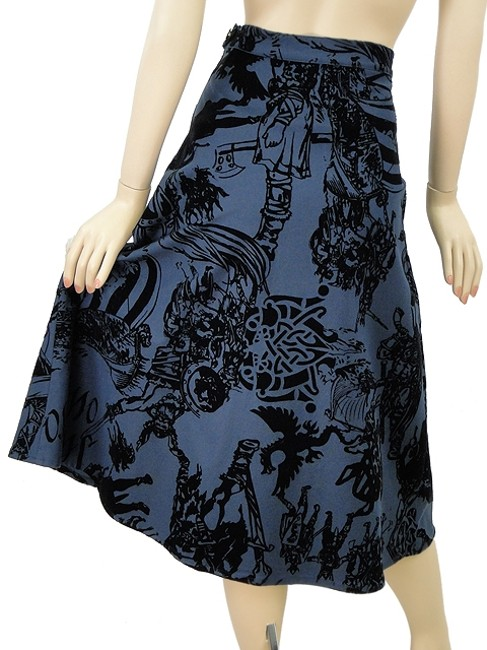 Moschino Flowy Print Embroidered Skirt Blue, Black
