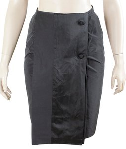 Olivier Theyskens Pleated Satin Silk A-line Skirt Black, Grey