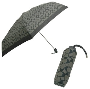 Coach Coach folding umbrella COACH F63365 SLCBK Peyton signature miniamplera folding umbrella black grey / black